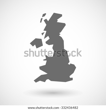 Isolated vector illustration of  a map of the UK  - stock vector