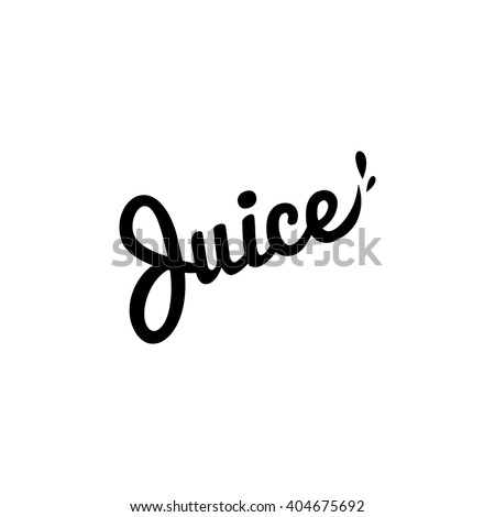 Isolated vector logo. Fresh juice drop lettering. Eco drink organic product simple flat text. Black writing logotype - stock vector