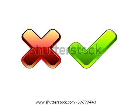 Isolated Vector OK and Cancel symbols - stock vector