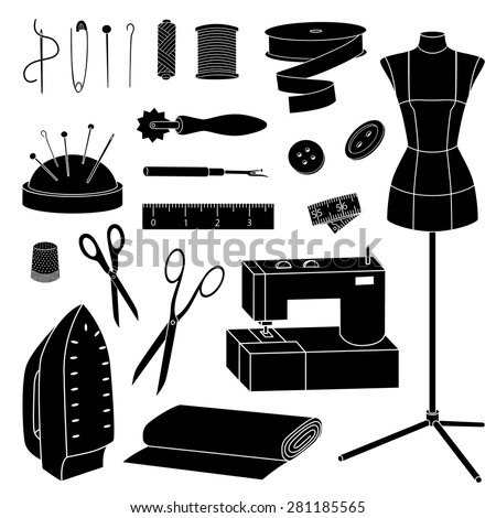 Isolated Vector Sewing Tools Silhouettes Set Stock Vector ...