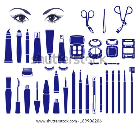 Isolated vector symbols of cosmetics for beautiful eyes - stock vector