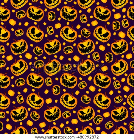 Isolated Vector Yellow Orange Festive Scary and Spooky Halloween Pumpkin on Purple Background, Holiday Seamless Halloween Pattern. Spooky Halloween Wrapping Paper. Spooky Halloween Seamless Pattern