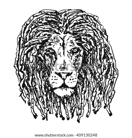 Isolated Vectorhead Lion Dreadlocks Symbol Rastafarian Stock Vector