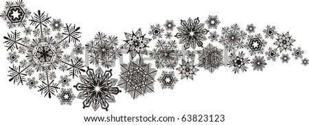 isolated vectorial snowflakes, design elements very easy to edit - stock vector