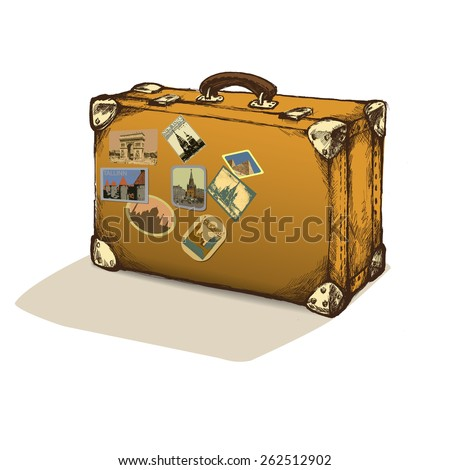 isolated vintage suitcase with labels.vector illustration