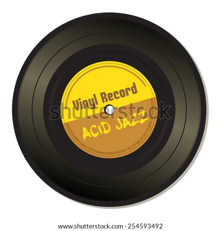 Isolated vinyl record with the text acid jazz written on the record - stock vector
