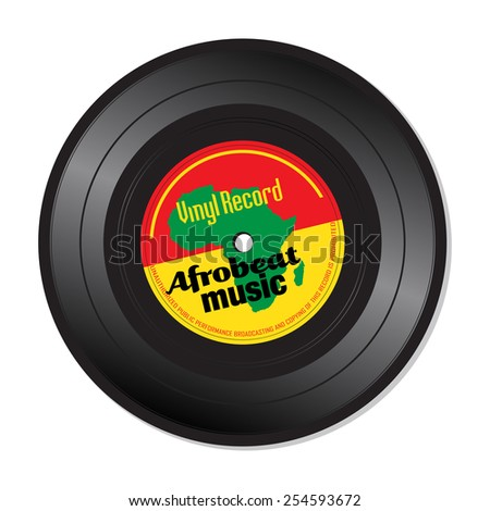 Isolated vinyl record with the text Afrobeat music written on the record - stock vector