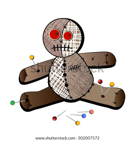 Isolated voodoo doll with stickpins  - stock vector