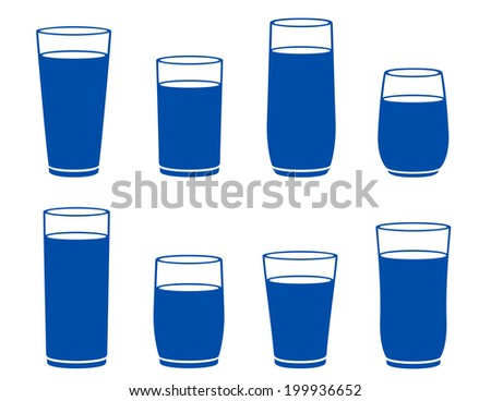 isolated water glass silhouette on white background - stock vector