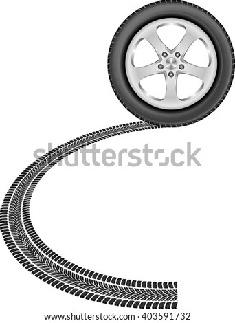 isolated wheel and tire track - stock vector
