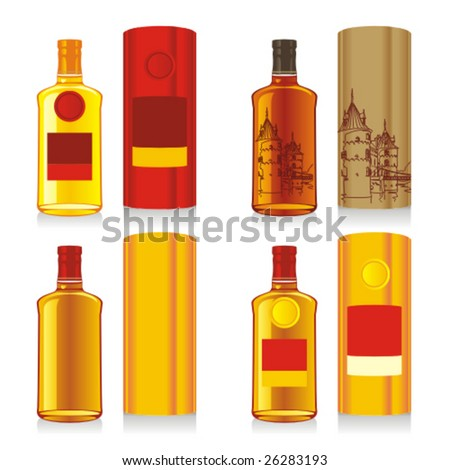 isolated whiskey bottle and boxes - stock vector