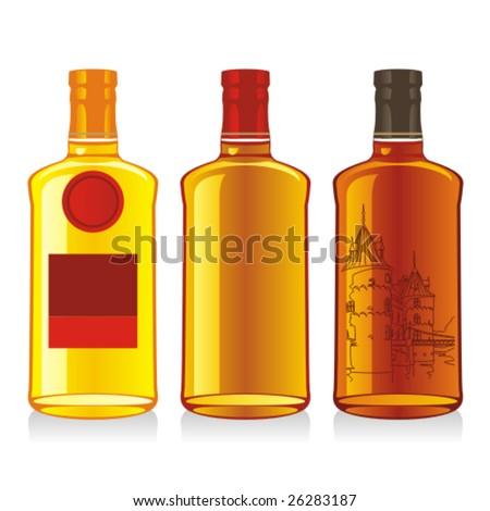 isolated whiskey bottles - stock vector