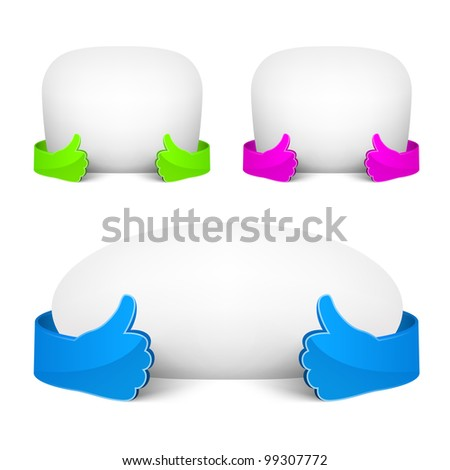 Isolated white bubble speech with empty paper and blue glass hand. - stock vector