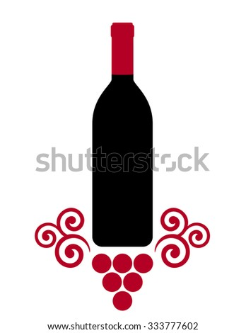 isolated wine bottle with decorative grape on white background - stock vector