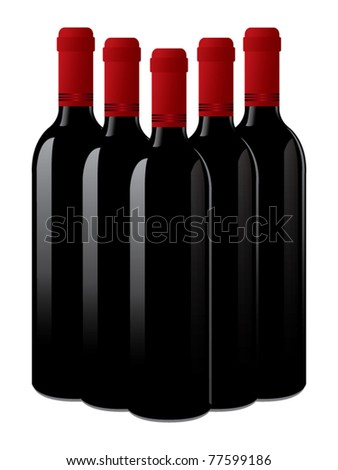 isolated wine bottles vector - stock vector