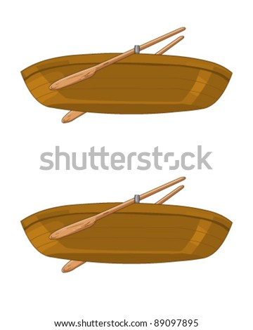 Isolated wooden boat - stock vector