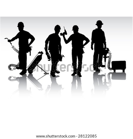 Isolated workers silhouettes with different tools - stock vector