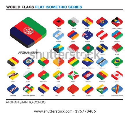 isolated world flags in flat colour on a white background, part of a series - stock vector