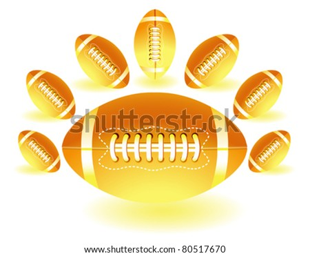 isolated yellow american footballs on the white background