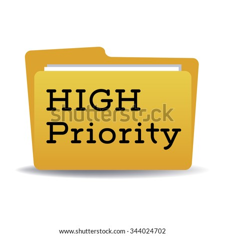Isolated yellow folder with the text high priority written with black letters
