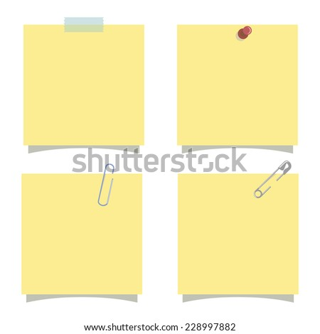 Isolated yellow note, empty post it vector illustration