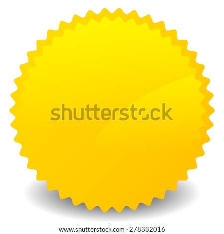 Isolated yellow, orange starburst shape with blank space. Vector