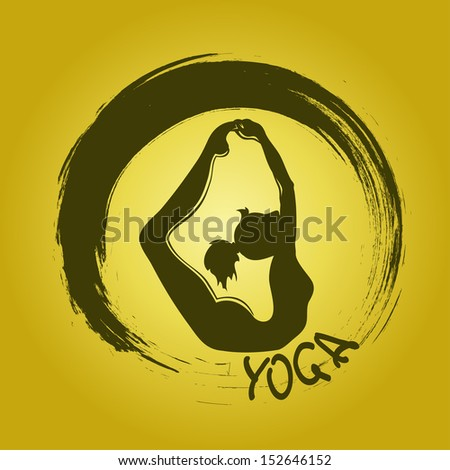 Isolated yoga label with Zen symbol and Bow pose - stock vector