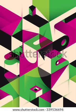 Isometric abstraction in color. Vector illustration. - stock vector