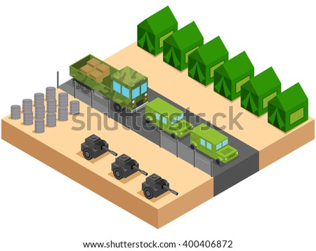 Isometric army camp with car and truck. Vector illustration