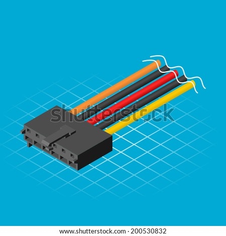 Isometric AUX Connector Vector Illustration - stock vector