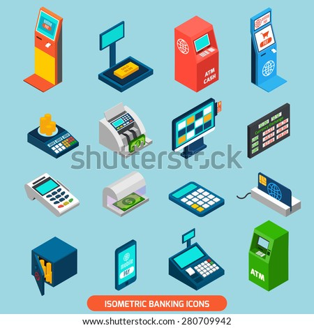 Isometric banking icons set with atm and cash machines isolated vector illustration - stock vector