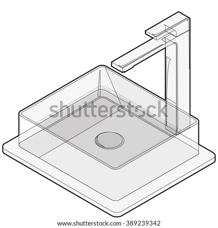 Isometric basin with tap and water. Bathroom wire sink. Kitchen interior info graphic element on white. Black and white illustration. Pictogram domestic cleaner set. Flatten isolated master vector. - stock vector