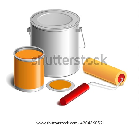 Isometric bucket of paint, color sample, brush,  icon for website - stock vector