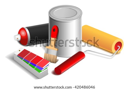 Isometric bucket of paint, color sample, brush, roller icon for website - stock vector