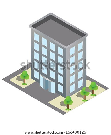 isometric building - stock vector