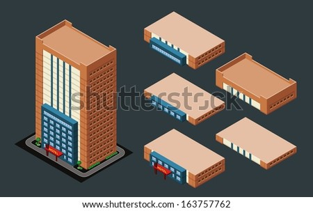 isometric building/hotel, its height is easily customize - stock vector
