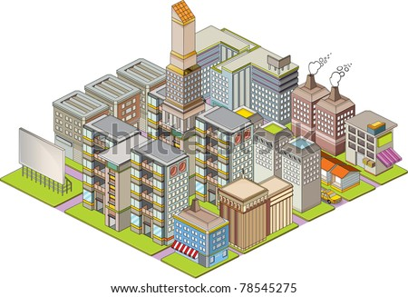 Isometric building map - stock vector