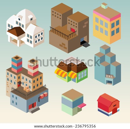Isometric building set. vector illustration - stock vector