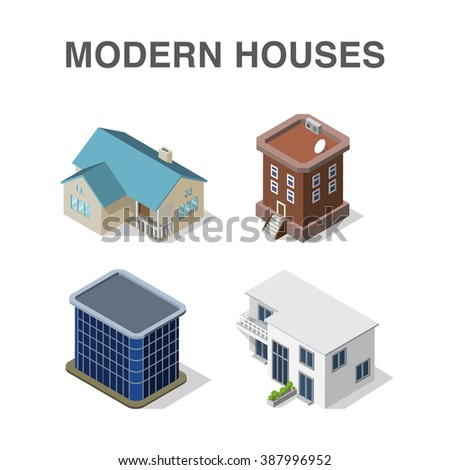 Isometric building set with four modern houses. Modern isometric house concept. - stock vector