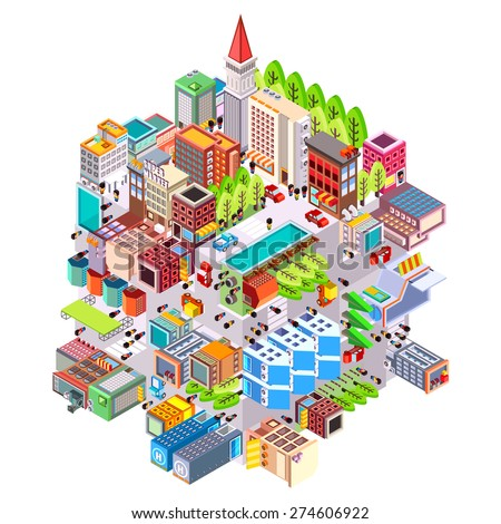 Isometric building urban city boxes from cube, Isometric city map  on  cube base, Vector illustrator - stock vector