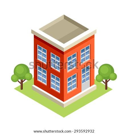 Isometric building. Vector - stock vector