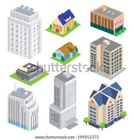Isometric Building Vector set - stock vector