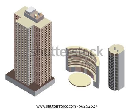 Isometric buildings - stock vector