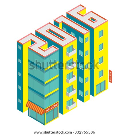 Isometric buildings in the form of 2016. Building icon isolated on a white background. Isometric vector illustration.  - stock vector