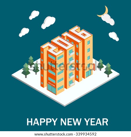 Isometric buildings in the form of 2016. Isometric vector illustration. New Year poster.