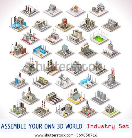 Isometric Buildings. Industrial Factory Set. Flat 3D Urban City Map Isolated Elements  Isometric Industrial Building Infographic Game Tiles Collection. Urban Farm Map Industry Vector Business Set - stock vector