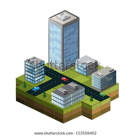 Isometric buildings on a city map on a white background