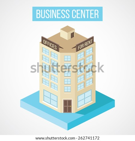 Isometric business center building. Isolated on gradient white background. Vector illustration. - stock vector