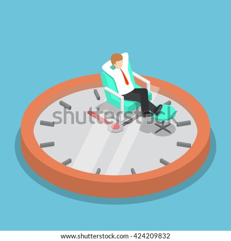 Isometric businessman holding hands behind head and relaxing on the sofa with clock, break time, time management concept, VECTOR, EPS10 - stock vector
