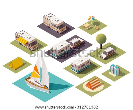 Isometric camping and travel equipment - stock vector